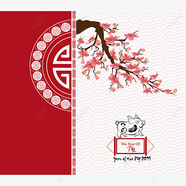Happy Chinese New Year 2019 Card Cherry Blossom Year Of The Pig