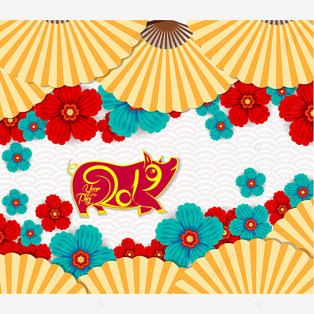 Oriental Chinese New Year Background With Lantern Tea And Cake