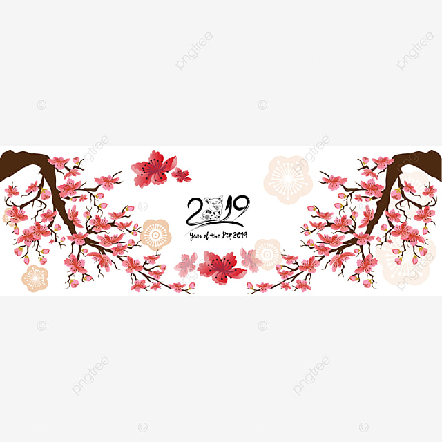 Set Banner Happy New Year 2019 Greeting Card And Chinese New Year Of