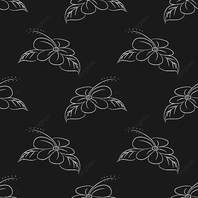 Vector Seamless Pattern Flores Blanco Y Negro Colores Ilustracion