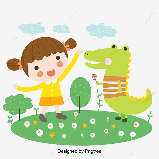 Cartoon Cute Girl Crocodile Element, Crocodile, Flower, Color PNG and PSD