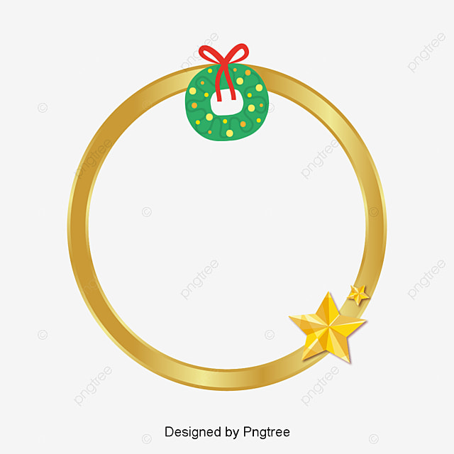 Cartoon Golden Christmas Garland Bow Ring Gold Png And Vector For