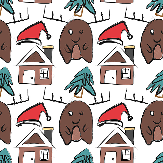 41d5387ab70d7 christmas pattern with childish drawing doodle creative colorful background  with moose deer santa hat and house