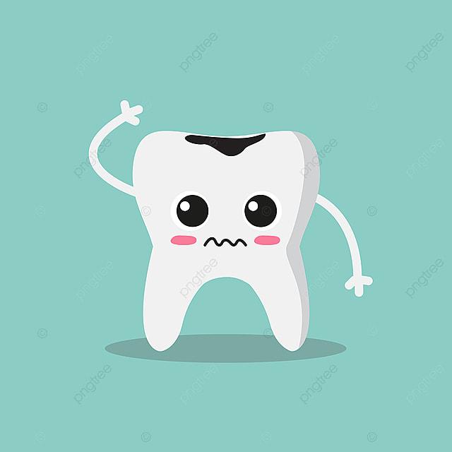 Cute Dan Sedih Gigi Dengan Kerosakan Lucu Rata Dokter Gigi Png Dan V R