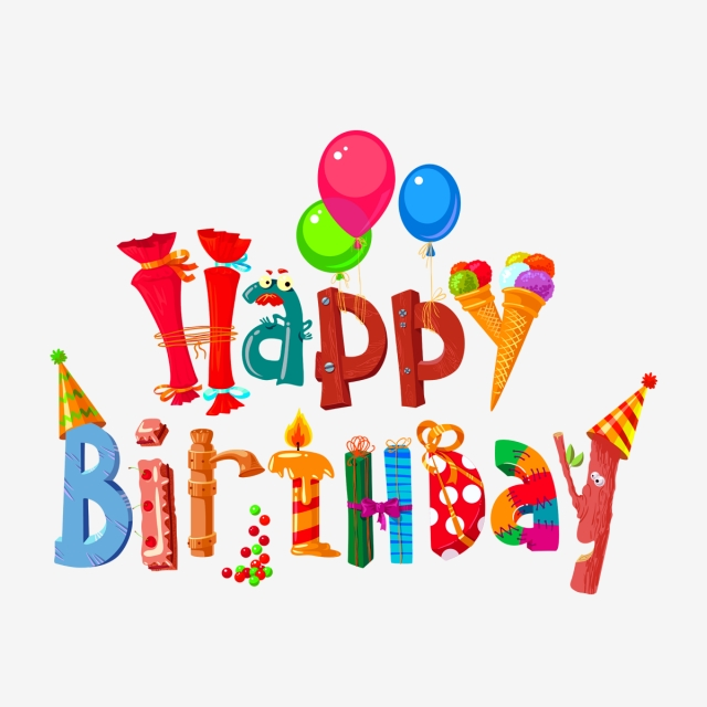 Happy Birthday Text, Birthday Letter, Birthday Design PNG