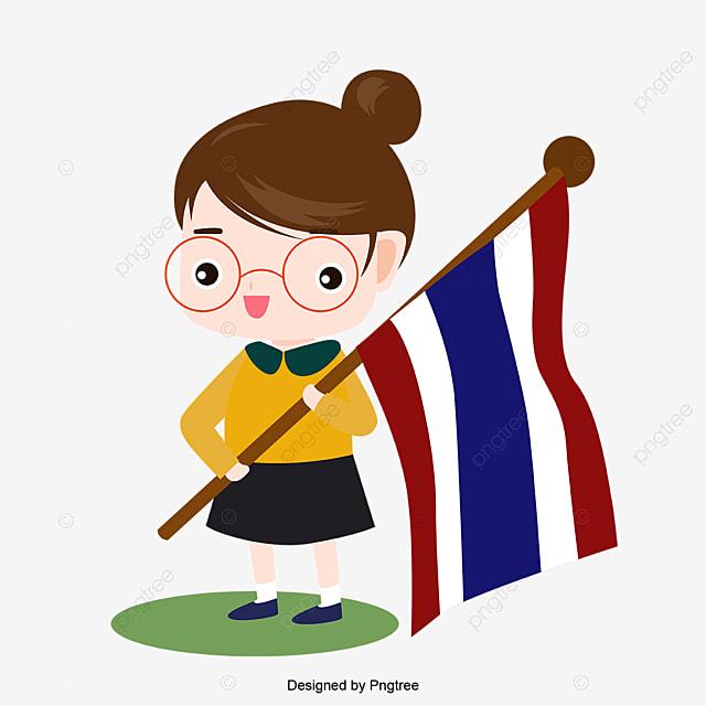 Gambar Watak Kartun Bendera Thai Handpaint Thailand Bendera Bendera Kebangsaan Png Dan Vektor Untuk Muat Turun Percuma