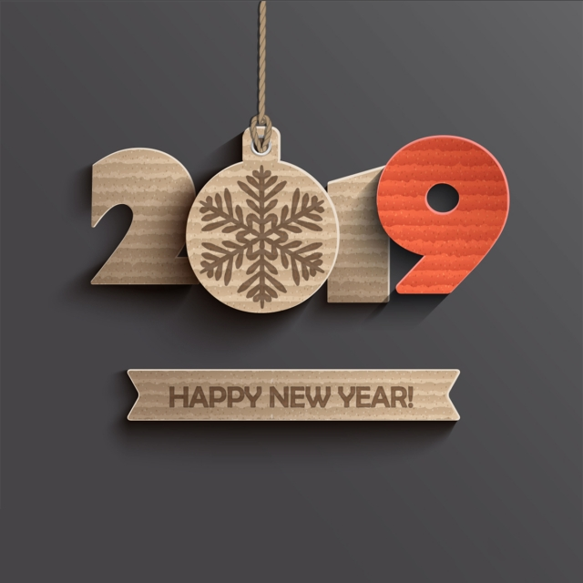Modern Creative Card For Happy New Year 2019 Paper Design
