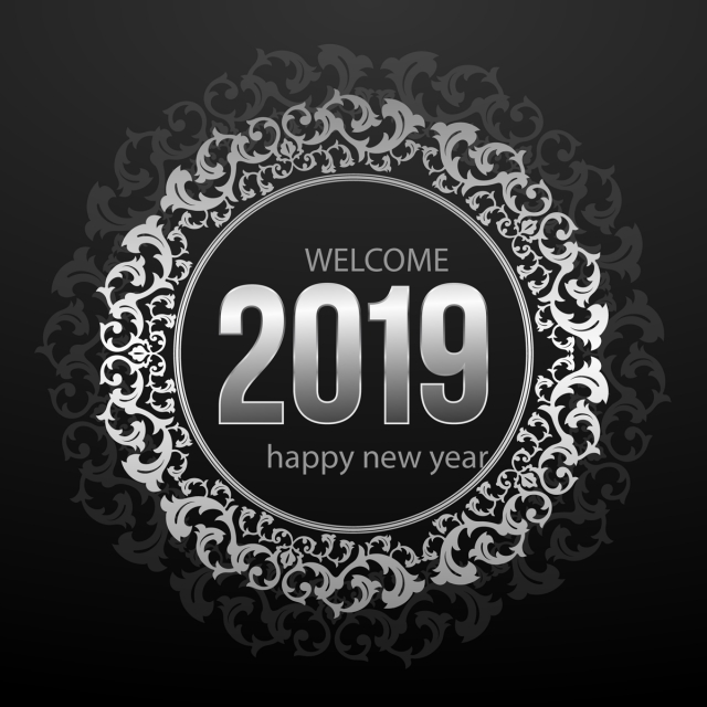 silver ornaments new year background happy new year 2019 love png and vector
