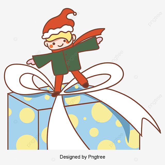クリスマスプレゼント男子韓国風手描きイラスト 図 図案 板絵画像とpsd