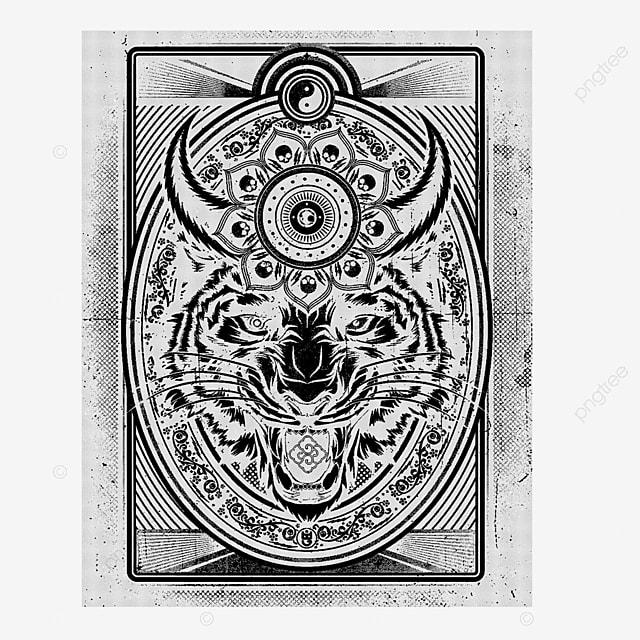 Tiger* Tattoo, Tshirt, Artwork,illustration. Vector