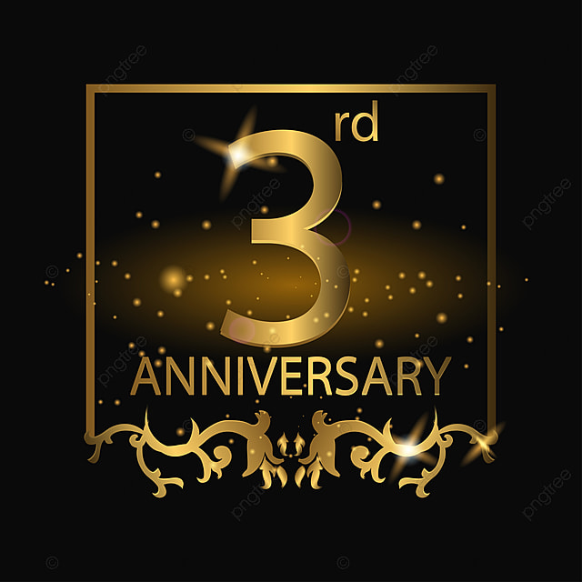 3rd Anniversary Logo With Gold Color Anniversary Year