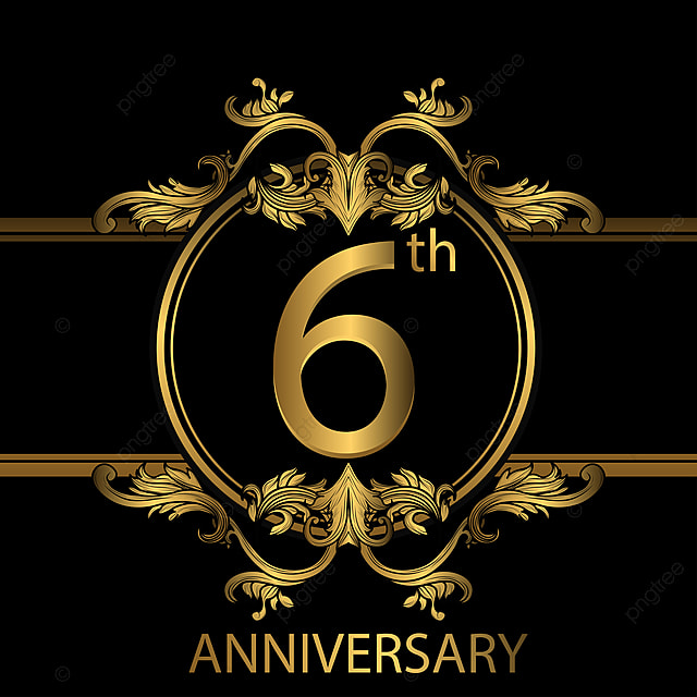 6e anniversaire logo avec couleur or anniversaire ann u00e9e