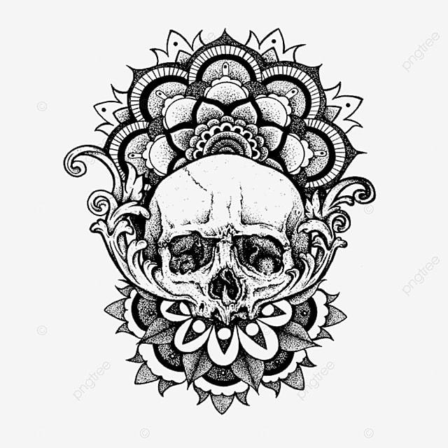 Skull Tattoo Artwork T Shirt Art Designs Illustration Hand