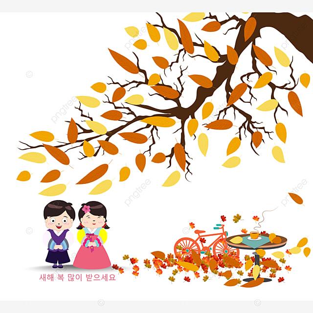 Coreano Tradizionale Felice Anno Nuovocoreano Personaggi Dire Felice