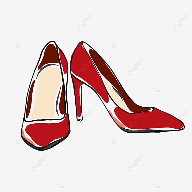 d68c4f7bc386 Red High Heels Doodle Vector