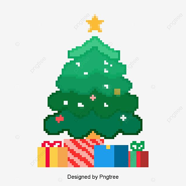 pixel on the christmas tree and christmas illustration, Green Bricks, Xmas, Christmas Present