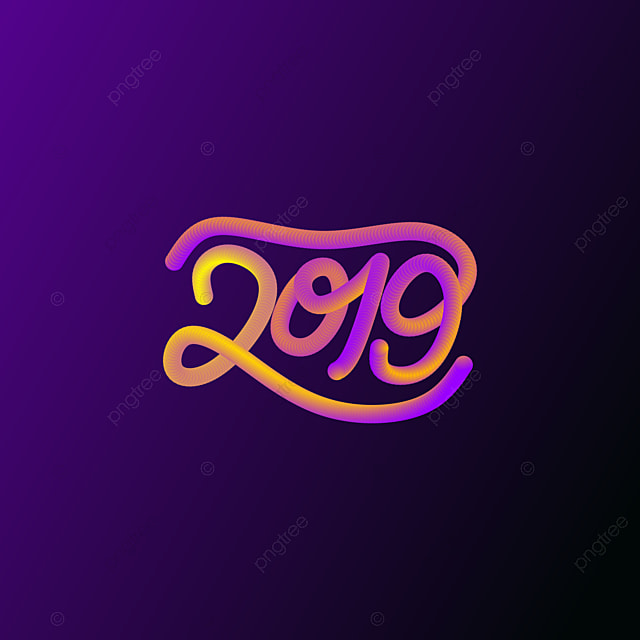 Happy New Year 2019 3d Sign Symbol Neon Png And Vector For Free