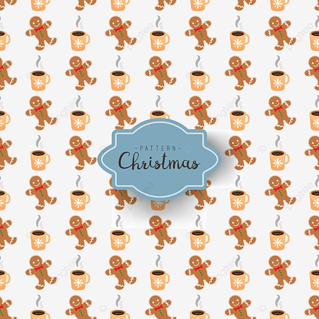 Corak Lancar Dengan Natal Simbol Dalam Kartun Gaya Pria Roti Jahe