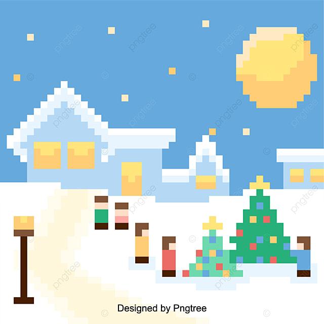 8677c3286669 Vector Illustration Of Christmas Retro Pixel Level Background.
