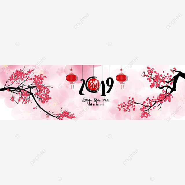 set banner happy new year 2019 greeting card and chinese new year of the pig