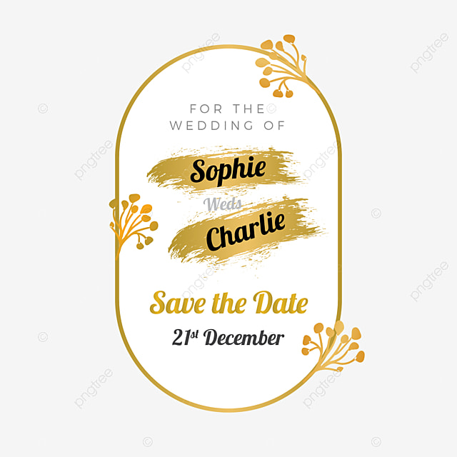 Golden Save The Date For Wedding Invitation Wedding: Golden Wedding Invitation Label With Save The Date Vector