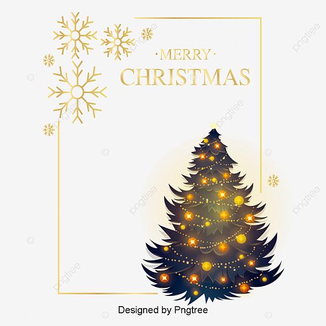 Frohe Weihnachten Rahmen.Einfache Gold Gelb Weihnachtsbaum Rahmen Frame Weihnachten Frohe
