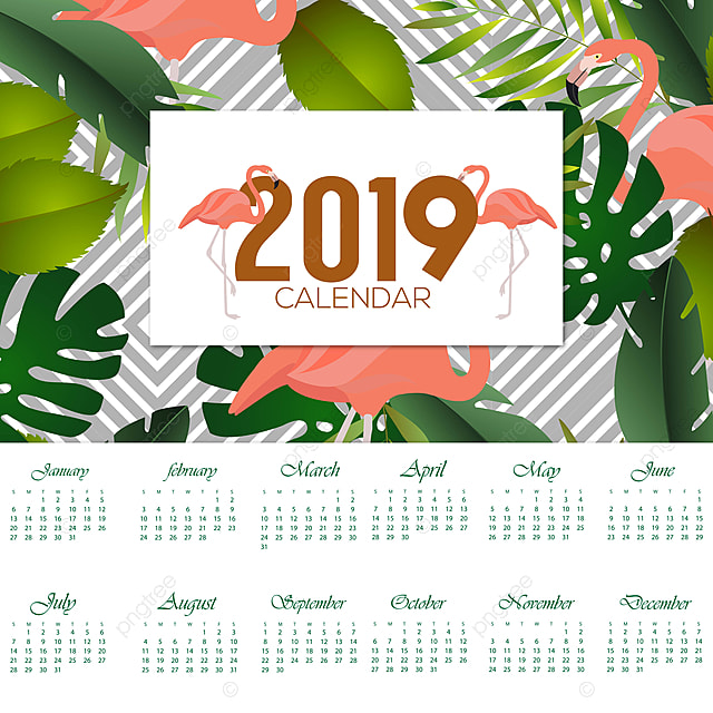 2019 Flamingo Kalendarz Projektu Kalendarz Kwiatów święta