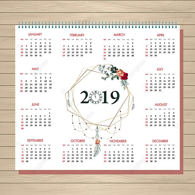 2019 Floral Calendar Design Calendar Floral Christmas Png And