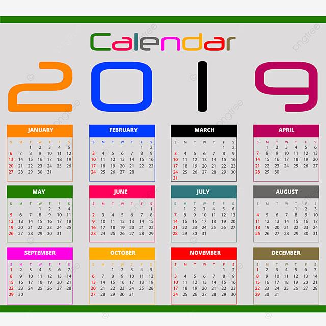 التقويم 2019 التقويم 2019 تقويم 2019 PNG وملف PSD للتحميل