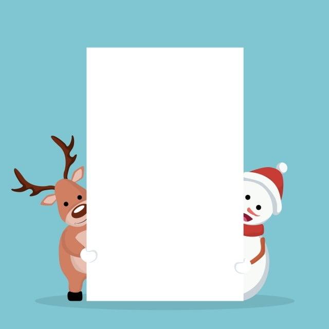 Tarjeta De Navidad De Muñeco De Nieve Y Renos Para Escribir Navidad