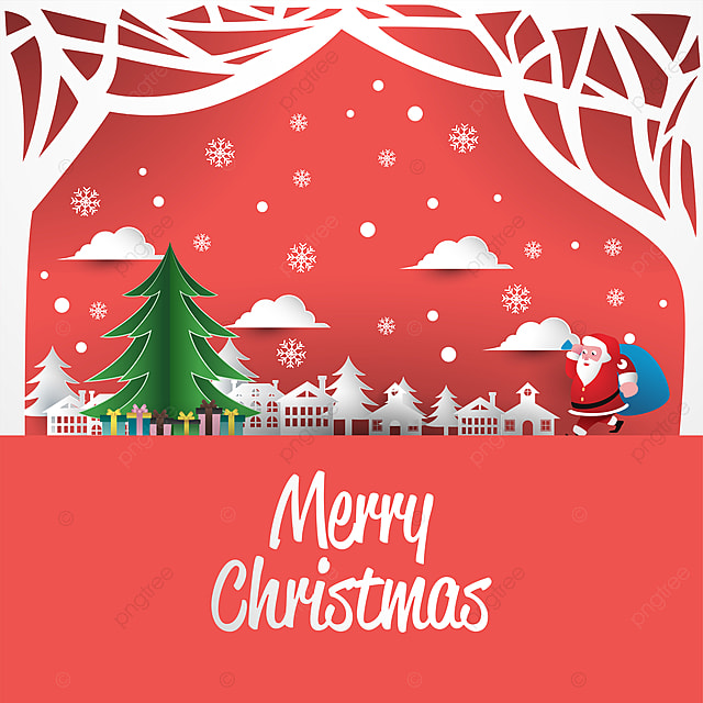 Mery Christmas.Mery Christmas Greeting Card With Paper Art Style Christmas
