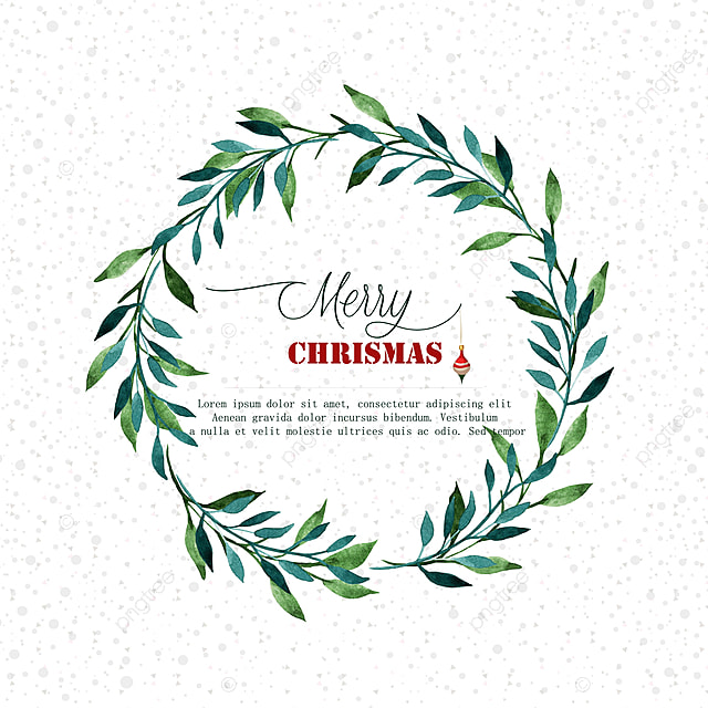 Watercolor Christmas Wreath Christmas Background Illustration Png