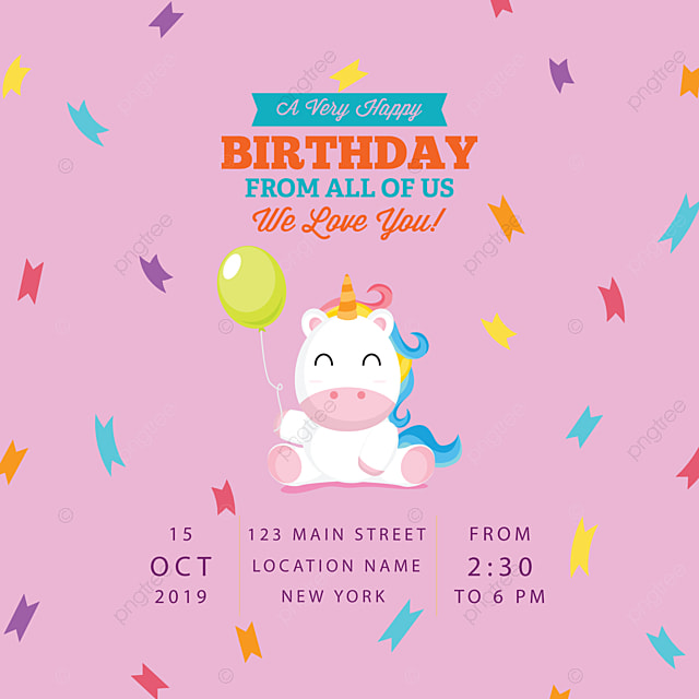Birthday Wishes With Unicorn Background Happy PNG And Vector