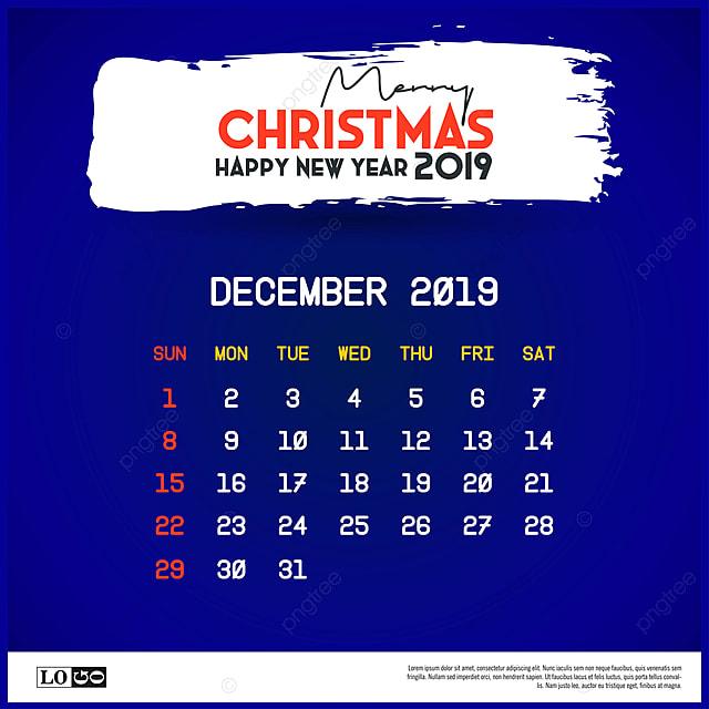 Calendario Diciembre 2020 Navideno.De Diciembre De 2019 Calendario Plantilla Feliz Navidad Y