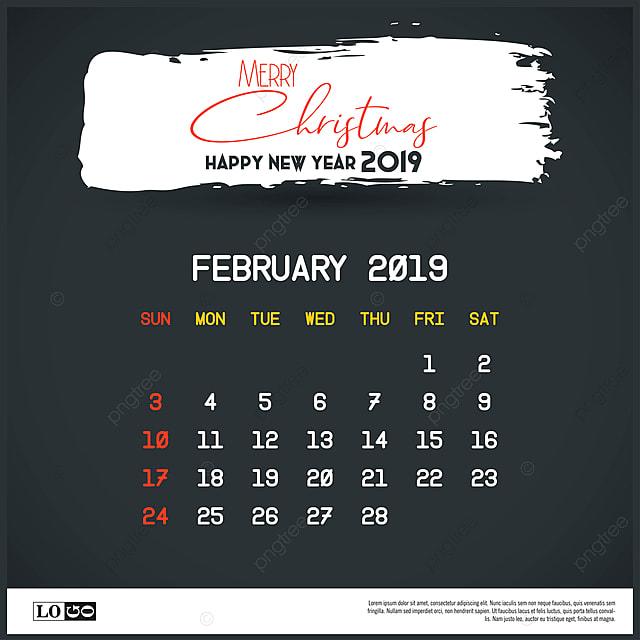 428055a5a5 February 2019 New Year Calendar Template Brush Stroke Header Ba ...