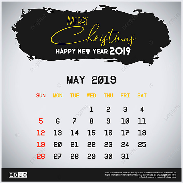 980d1b5f3b0 May 2019 New Year Calendar Template Brush Stroke Header Backgro ...