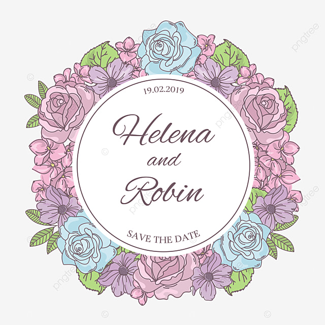 SAVE THE DATE Wedding Vector Illustration Wreath For Print