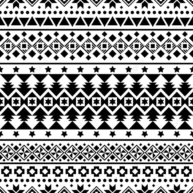 Merry Christmas Seamless Pattern Vector Xmas Aztec Shape And