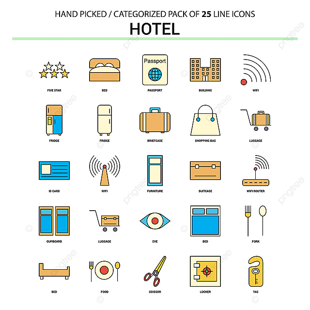 Hotel Apartamento Linea Icon Set Concepto De Negocio Los Iconos De