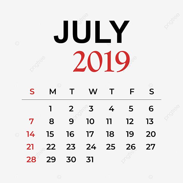 Mes De Julio Calendario.Calendario Mes De Julio 2019 Calendario Vector Ano Png Y