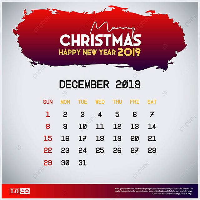 Calendario Diciembre 2020 Navideno.Plantilla De Calendario 2019 De Diciembre Feliz Navidad Y