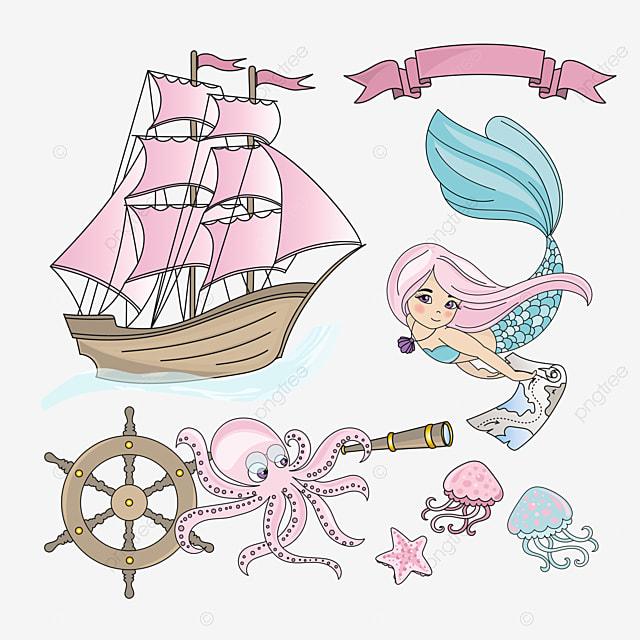 MERMAID SHIP Sea Travel Color Vector Illustration Set For Print Birthday Party Wall