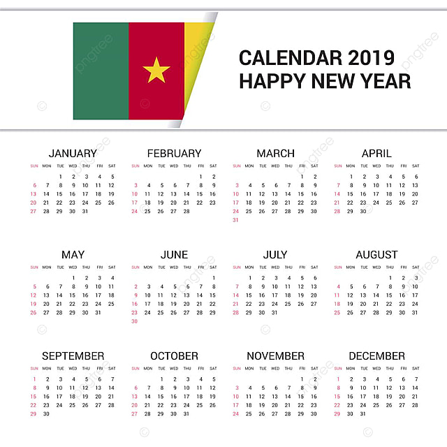 Calendrier 2019 Png.Calendar 2019 Cameroon Flag Background English Language 1