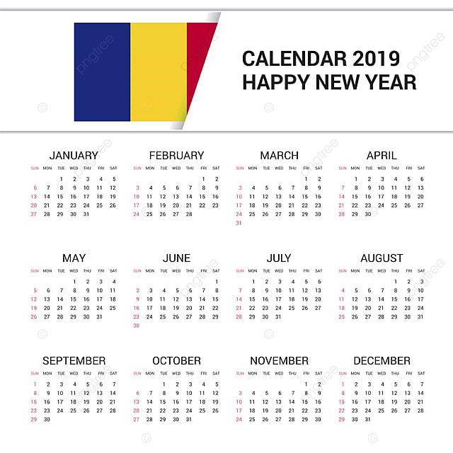 Calendario Romena 2019.Calendario 2019 Romenia Bandeira Fundo Ingles 1 1 2019
