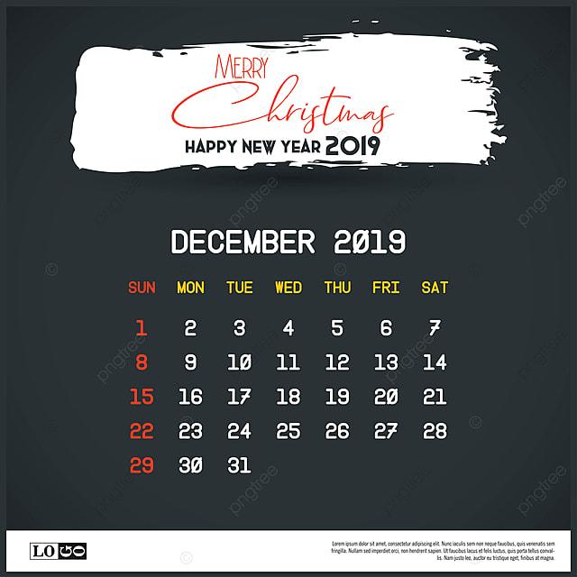 december 2019 new year calendar template brush stroke