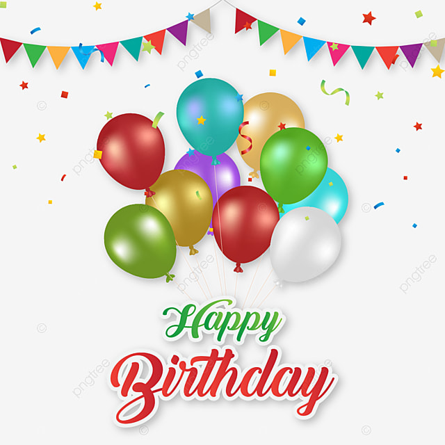 Happy Birthday Wishes With Colorful Balloons Vector Creative PNG And