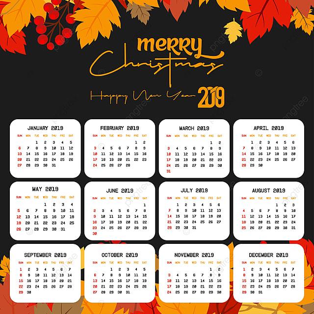 Kalender Weihnachten 2019.2019 Kalender Template Weihnachten Und Ein Glückliches Neues Jahr