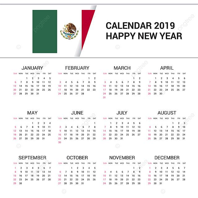 Mexico Calendar 2019 Calendar 2019 Mexico Flag Background English Language, 16, 16th