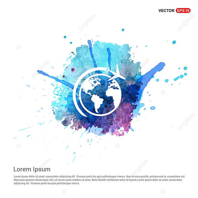 globe vector ic u00f4ne avec avion aquarelle contexte r u00e9sum u00e9