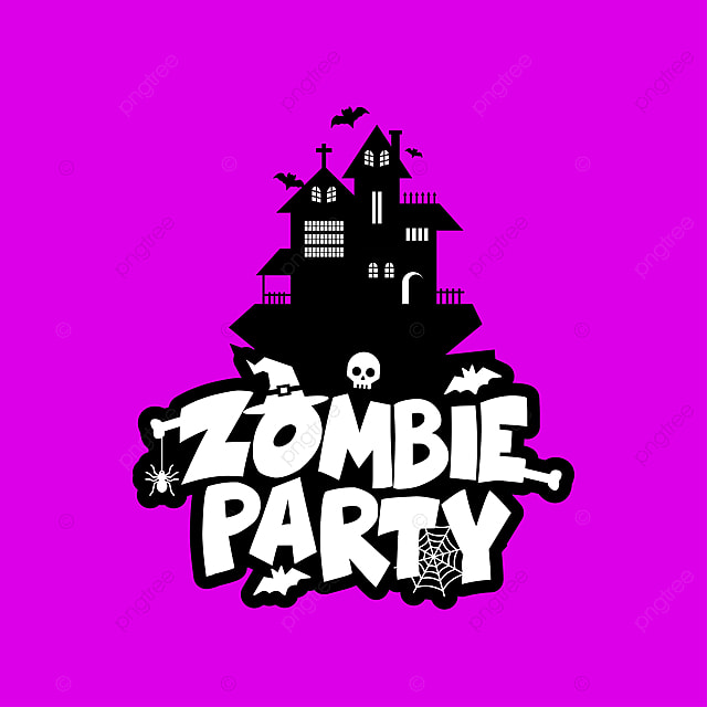 Zombie Party Typography Design Vector Halloween PNG And